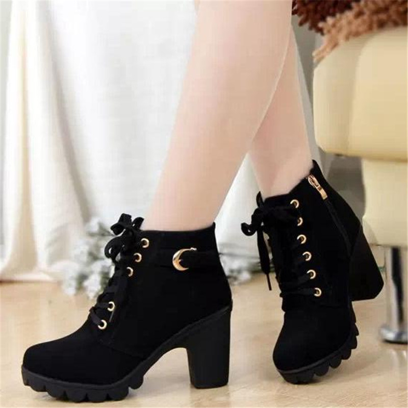 Free shipping 2016 high and thick with leisure ladies boots Sponge thick bottom short boots Martin short boots<br><br>Aliexpress