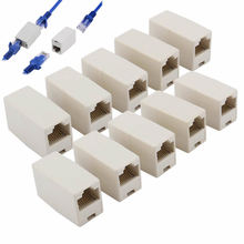 10PCS RJ45 Cat 5e Network Cable Straight Ethernet LAN Coupler Joiner Connector Drop Shipping(China)