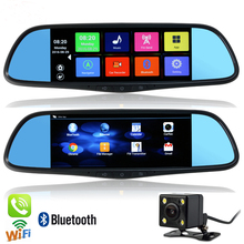 New 7 inch GPS Android Mirror GPS Navigation Bluetooth Phone Call WiFi DVR Full HD 1080P Dual Video Camera Rear View Mirror GPS