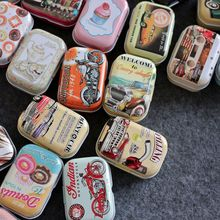 Vintage Cartoon Tin Box 5.5*4*2.5cm Candy Pill Chutty Mini Storage House Decoration Collectables Display