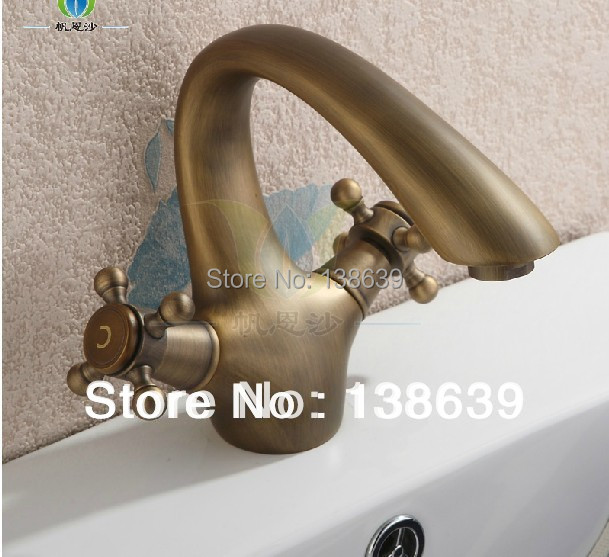 Free shipping bathroom basin kitchen sink mixer faucet,dual handles single hole brass brushed luxury bathroom faucet,promtion<br><br>Aliexpress