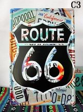 Multi Type! 20*30cm, 30 Pieces US ROUTE 66 Highway STREET Poster Vintage Metal TRAFFIC CARS Tin Sign Free Ship Bar Wall Decor(China)