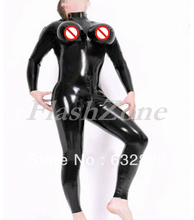 Chest inflatable latex catsuit tights for man with back zip to abdomen