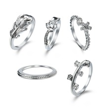 Fashion High quality new jewelry Dress up your beaut Alloy zircon ring five piece set rings for women 5 rings the same style(China)