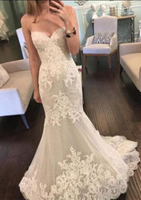 Sweetheart White Lace Appliques Beautiful Wedding Dress Beach Mermaid Floor-length Tulle Bridal Gowns Custom