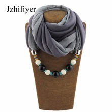 Jzhifiyer scarf luxury brand fashion patchwork beaded pendant necklace scarves jewelry necklace shawls echarpe hijabs scarf