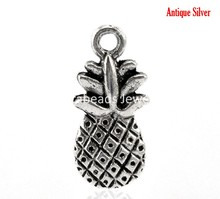 "DoreenBeads 50PCs antique silver color Pineapple Fruit Charm Pendants 19x9mm(6/8""x3/8"") (B21634)"