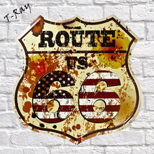 Metal Tin signs Route 66 Hot Road Irregular Garage Sign Embossed Garage Pub House Office Restaurant Bar iron Paintings NA44(China)