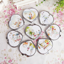 Random Portable Pocket Double Sided Fodable Mirror Heart Shaped Design Mini Pocket Makeup Mirror Cosmetic Compact Mirrors(China)