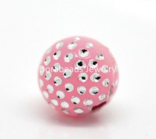 "Doreen Box hot-  300PCs Pink Silver Dot Ball Acrylic Beads 8mm(3/8"")(B19573)"
