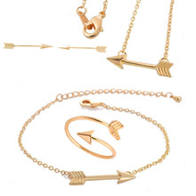One Direction Hunger Game Arrow Boho Chic Necklaces Earring Bracelet Rings Jewelry Sets for Women(China)