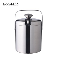 Hoomall 1.3L Double Wall Stainless Steel Ice Bucket With Handle Bar Barrel Beer Wine Cooler Container Whisky Wort Chiller(China)
