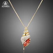 AZORA Winkles Design Gold Color Red Color Stellux Austrian Crystal Paved Pendant Necklace TN0001(China)