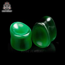 tear drop style fashion pair selling stone plugs ear tunnels piercing gauges 2pcs lot green earrings expander free shipping