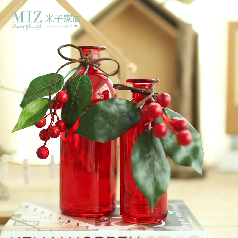 Miz Home 1 Piece Red Color Glass Vase Christmas Decoration for Home Christmas Tree Decorations Desk Accessory Christmas Gift(China (Mainland))
