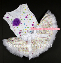 White Rainbow Dots Newborn Pettitop with a Dark Purple Rose with White Rainbow Dots Newborn Pettiskirt MANP001