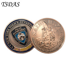 New York Police Department Bronze Military Coins For Collection, Army Challenge Coins With Round Plastic Box(China)