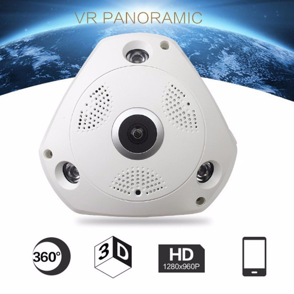 Wireless Panoramic Camera 1.44mm Lens 360-Degree Camera HD 960P Motion Detection WIFI IP Camera Home Security System<br>
