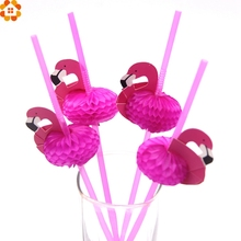 New 20PCS/Lot Cute 3D Flamingo Straw Bendy Flexible Plastic Drinking Straws Kids Birthday/Wedding/Pool Party Decoration Supplies(China)