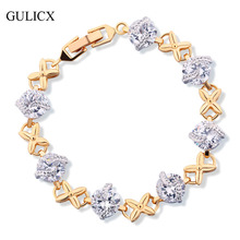 GULICX 2017 Brand White Round Crystal CZ Bracelets for Women Gold-color Flower Bangle Statement Jewelry L132