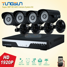 Super 3MP HD 4 Channel 1920P Surveillance Camera Metal black infrared Bullet Waterproof 4CH DVR Security Camera System kit