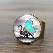 Adjustable Vintage Ring Art Glass Dome Dragon Rings for Women Men Jewelry  Bronze Antique Ring Wholesale