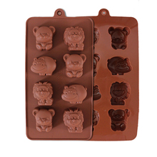 Cute Animals Silicone Cake Chocolate Mould Soap Jelly Moulds Cake Tools DIY Bakeware Kitchen Bake Pastry Tools Lion Bear hippo