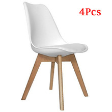 EGGREE Set of 4 Dining Room Chair with cushion.Solid Wood Feet Plastic Chair  Coffee Bar Chair Office Chair White
