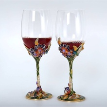 fashion color enamel red wine glasses crystal wedding glasses for bride and groom gifts box drinking glass metal wine goblet