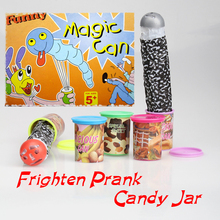 Frighten Candy Jar Party Play Special Sweet Funny Toy Kids Children Trick Frighten Candy Jar Jump Out With Voice Strange Jar(China)