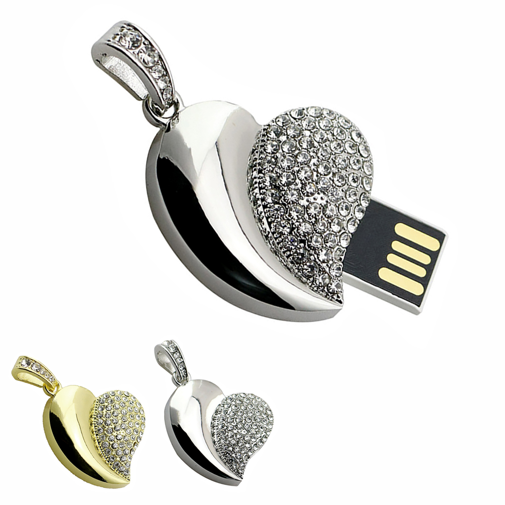 Hot Metal Diamond jewelry Usb Flash Drive Memory 8G 16G Crystal Heart USB Pen Drives 16 gb U Disk wedding for gift Free shipping(China (Mainland))