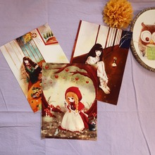 1 Retro bird digital printing patchwork hand cloth 15*20CM cotton hand DIY fabric Fairy Tales designs fabric frame painting(China)