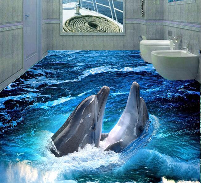 3 d pvc flooring custom floor wall paper  Dolphin 3 d bathroom flooring stereograph  mural photo wallpaper for walls 3d<br>