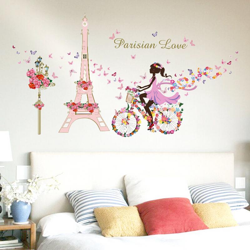 HTB1u928RVXXXXbKXVXXq6xXFXXXU - Romantic Paris Wall Sticker For Kids Rooms Eiffel Tower Flower Butterfly Fairy Girl Riding