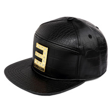 Vogue EMINEM Gold Crocodile Baseball Caps PU Leather E letter Snapback Hats Rhinestone hip hop hat for men women casquette(China)