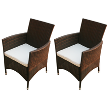 Brown Garden chairs 2 Pcs synthetic Rattan Chair Set with Backrest Handrail For Garden ES Stock