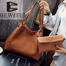 Big bag 2017 new women's mother bag shoulder bag lychee line button simple color Korean version of the wild Casual Tote female