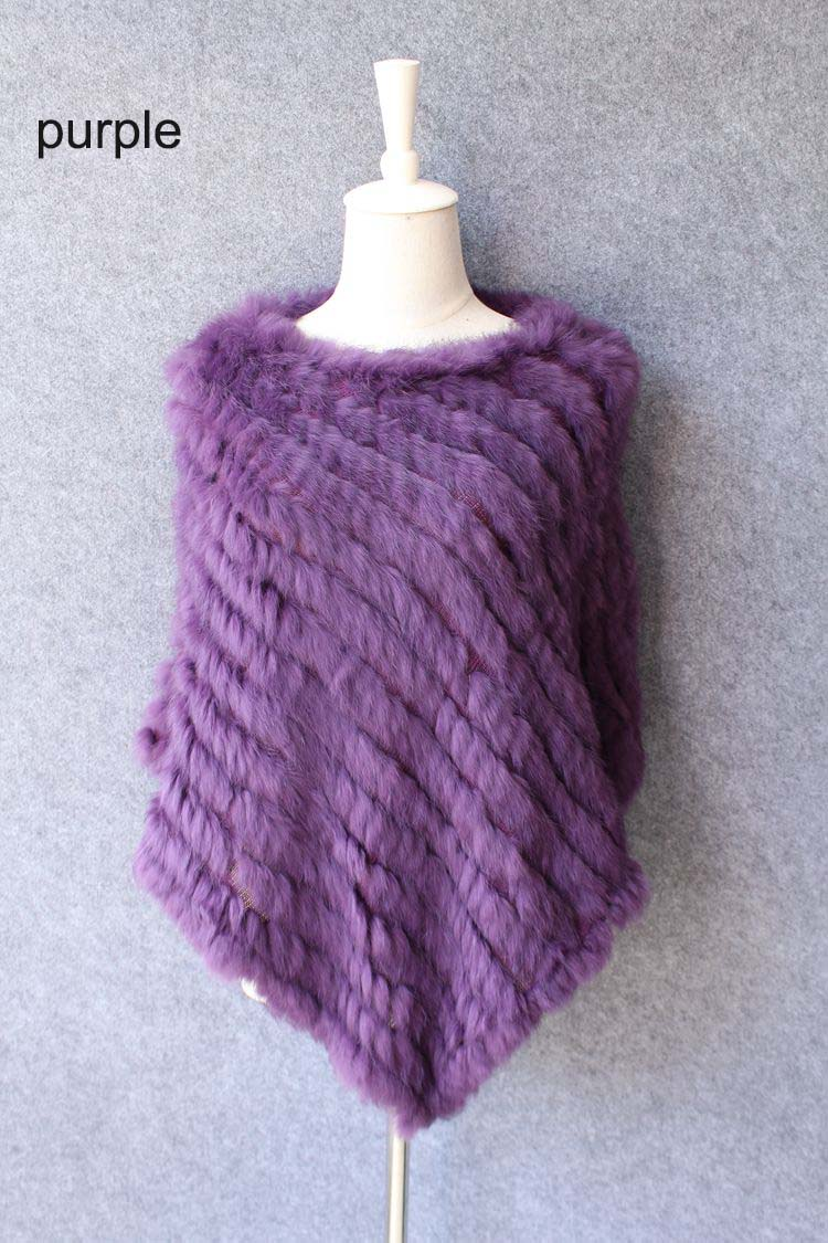 natural knitted rabbit fur scarf wraps (10)