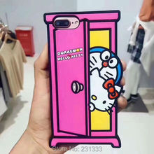 3D Cartoon Soft Silicone GEL Case For Iphone 7 PLUS 7PLUS I7 6 6S Hello Kitty Doraemon Cute Cell phone Skin Cover Fashion 1pcs