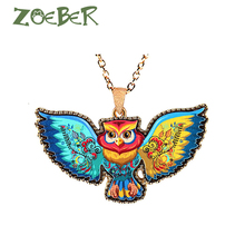 ZOEBER Natural charm owl chain choker charm Features necklace Acrylic Unisex jewelry cartoon owl Neck accessories chokers colar(China)