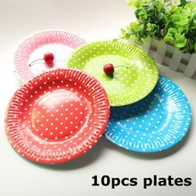 10pcs Disposable Paper Plates Valentine Birthday Wedding Party Tableware Paper Plates For Baby Shower Decor