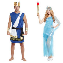 Woman Men Greek Goddess Lady Liberty Costume Zeus Roman Soldiers Cosplay Clothing Hallowmas Carnival Party Fancy Dress