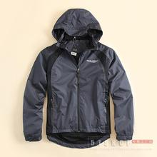 2016 Men Sports Jacket Men's Clothing Butdoor Thin With a Hood Windproof Waterproof Hiking Outerwear Riding Cycling Jacket  L/XL
