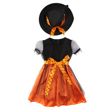 2017 Brand New Toddler Kids Girls Baby Halloween Outfit Set Witch Toddler Fancy Dress Hat 2Pcs Cos Costume 2-7T
