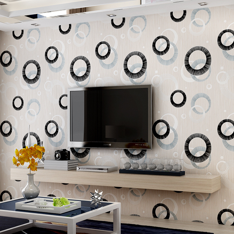 beibehang abstract circle sofa TV background wallpaper 3D stereoscopic non-woven living room bedroom wallpaper background<br>