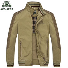 2017 Spring And Autumn Turn-down Collar Jacket AFS JEEP Brand Quality Men Jacket Mens Coat Cotton Washed Jacket Plus Size 130D