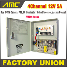 CCTV Power Box 4 Channel 12V 5A Support PTZ IR Illuminator Access Control for 4CH DVR CCTV Camera Power Supply