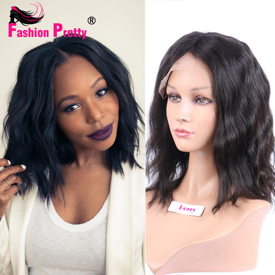 Natural Wave Peruvian Virgin Human Hair Lace Front Bob Wig Glueless Short Full Lace Human Hair Wigs 8-14 For Black Women<br><br>Aliexpress