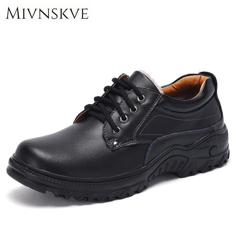 MIVNSKVE Men Shoes New Autumn/Winter Fur/Plush Warm Casual Fashion Safety Flats Footwear Genuine Leather Waterproof Shoes Men<br>