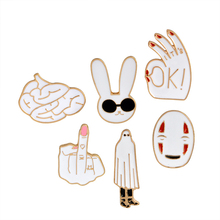 Miss Zoe No Face man OK Middle finger Sunglasses Rabbit Brain Brooch Denim Jacket Pin Buckle Shirt Badge Gift for Friend(China)
